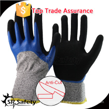 SRSAFETY 13G black nylon and HPPE and glassfibre liner 3/4 coated double layer nitriles, sandy finish on palm glove