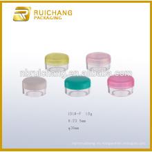 10g de plástico recipiente de cosméticos / tarro, tarro de crema cosmética, tarro de plástico de cosméticos, envases de plástico cosméticos tarro de crema