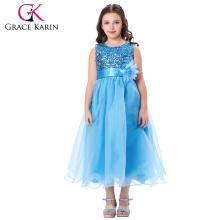 Grace Karin sin mangas de lentejuelas Voile azul niñas vestidos de fiesta vestido de bola CL007596-1