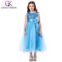 Grace Karin Sleeveless Sequins Voile Blue Baby girls Ball Gown Dresses CL007596-1