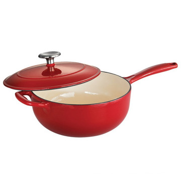 Cast Iron Enamel Covered Saucepan, Red
