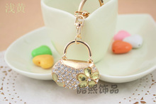 Creative full rhinestone Crystal elegant woman hand bag pendant 3D metal Keychain creative gifts gold key ring