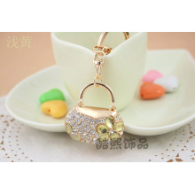Creative full rhinestone Crystal elegant woman hand bag pendant 3D metal Keychain creative gifts gold key ring