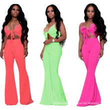 C3758 Wholesale Sexy Women Deep V Neck Solid Color Rhinestone Party Jumpsuit With Wide Leg For Women 2019