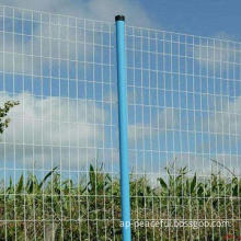 Welded wire mesh fence, PVC coated, with post