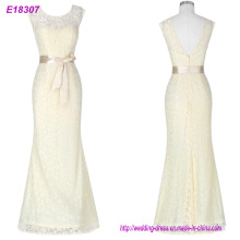 Elegante O-cuello de una línea de tren de barrido vestido de encaje vestido de fiesta baratos vestidos de fiesta