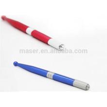 Azul / vermelho ou OEM cor alumínio microblading caneta, quente venda sobrancelha tatuagem caneta para 3D mais toque sobrancelha