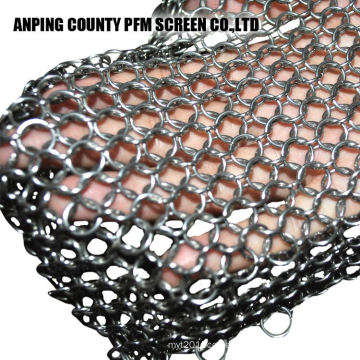 4*4 Inch 1.2mm Wire 10mm Ring Diameter Chainmail Cast Iron Scrubber