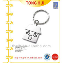 Small house shape metal keychains silver