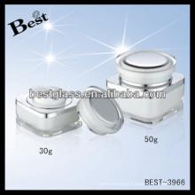 Tarro de crema de acrílico rectangular 30g, pmma, abs, as, latas de crema para la cara vacías con tapa redonda, tarros de galletas de acrílico 50g