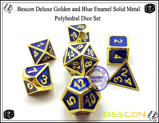 Bescon Deluxe Golden and Blue Enamel Solid Metal Polyhedral Role Playing RPG Game Dice Set (7 Die in Pack)-2