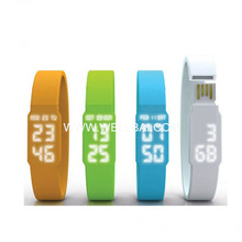 2014 Popular Silicon Bracelet LED Watch USB Flash Drive Disk
