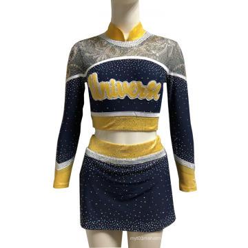 Spakle Mesh Fabric Little Girls Cheer Uniforms