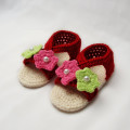 Red dark baby girl shoes crochet baby sandals handmade