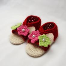Red dark baby girl shoes crochet baby sandals handmade