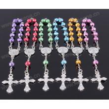 Bonito plástico arco-íris rosa talão metal crucifixo decênio rosário
