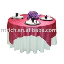 100 % polyester nappe, housse de table de banquet/hôtel, superposition de table satin