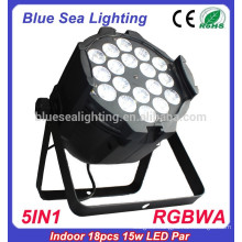 2015 hotsale 18pcs x 15w 5in1 rgbwa led flat par