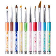 High Quality Nail Crystal Painted Art Brush Pen Colorful 10pcs Nail UV Gel Art Brush Pen