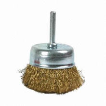 Brass crimped steel wire cup wheel brush with shaft