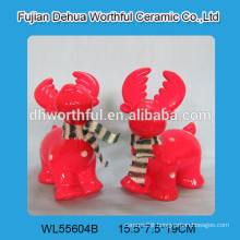 Excellent red ceramic reindeer figurine for 2016 christmas gift