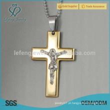 Alta qualidade em aço inoxidável 18k ouro jóias pingente cruz antique