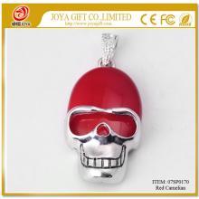 Red Carnelian Semi Precious stone Skull Pendant