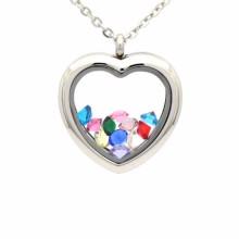 Schöne Silber Herzform Fotorahmen Medaillon Anhänger Schmuck