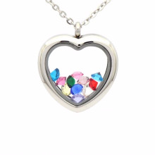 Beautiful silver heart shape photo frame locket pendant jewelry