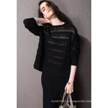 Moda Vestuário Oco Nylon Knit Mulher Sweater