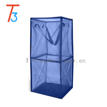 Wholesale blue nylon fabric collapsible laundry basket