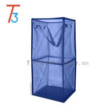 Wholesale blue nylon fabric collapsible laundry basket