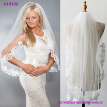 China Factory Embroidery Lace Bridal Wedding Veils with Combs