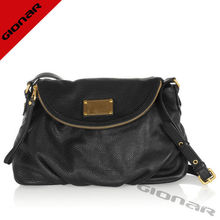 Classical Designer Black Hobo Genuine Leather Handbags With Pebbled Genuine Leather