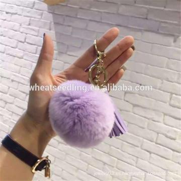 Keychain de cuero popular del pom del pom de la piel del pompom de la borla de 2016craft