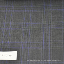 Tela de cuadros gris y azul Tela de tweed de lana tejida con mezcla de poliéster para hombre