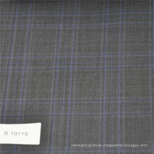 Grey and blue check fabric Wool Polyester blend woven fabric tweed fabric for suit mens