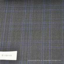 Cinza e azul verificar tecido Lã Poliéster mistura tecido tecido tweed tecido para terno dos homens