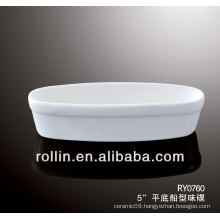 Hotel and restaurant used dish, ceramic sauce dish, boat shape dish