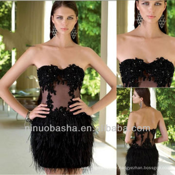 Balck Short Mini autruche Hair Feather Colonne Lace Sequin Homecoming Dress Graduation Gown