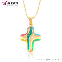 32385 Xuping nueva llegada venta al por mayor 18 k oro plateado cruz colgante colorida joyería geométrica
