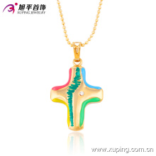 32385 Xuping nouvelle arrivée en gros 18k plaqué or pendentif croix pendentif bijoux géométriques colorés
