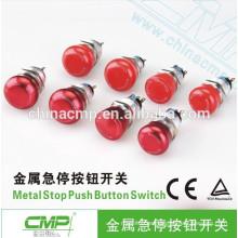 Diámetro de montaje 19 mm 22 mm CMP aluminio impermeable interruptor de botón de parada de emergencia ip67