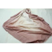plain pink gradual change color big square scarf fringe on four side super soft hand feeling