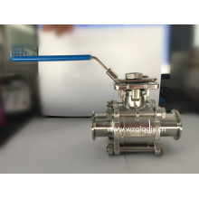 Stainless Steel High Platform Clamped Three-Way Ball Valve