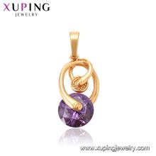 33316 Xuping top quality novo modelo 18 k ouro cheio de jóias elegante pingente de pedra preciosa roxo avermelhado