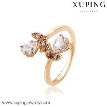 Anillo de dedo del oro de las señoras del diseño 12567-nuevo, anillo de la flor de China al por mayor de la joyería, anillo de la manera de la joyería de Guangzhou