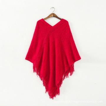 Pull femme cardigan wraps châles tricotés hiver poncho (SP612)