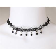 El collar atractivo del ahogador del negro de la tela del cordón de la orden mezclada diseño superventas