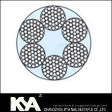 (6X37 + FC) Cordage en acier inoxydable pour débrochage, levage, dessin